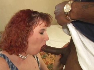Tatooed Red-haired streetwalker earns some BBC!