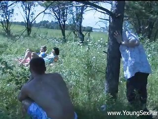 awesome foursome where two sensuous guys penetrating two chicks in the field