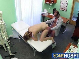 yellowish hair patient holds utterly screwed by the doctor