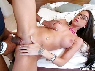 Tattooed undies-clad white sweetheart Raven Bay with glasses sucks sable monster knob bravely from year one this cutie widens her legs to receive her
