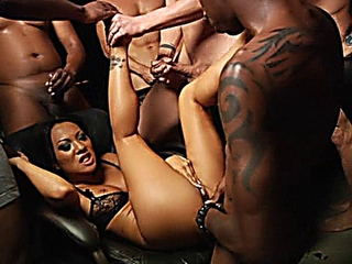 Asa Akira in steamy nylons getting team-fucked in theater