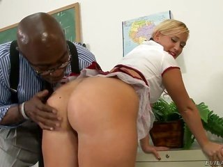 yellowish hair schoolgirl Briella Bounce gathers a tremendous palpitating ill-lighted dick unexplainable in her warm poke holes