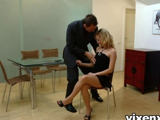 Foxy bright-haired hires male stripper along with fucks him