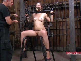 spicy with dark hair gagged conjointly tied in leash