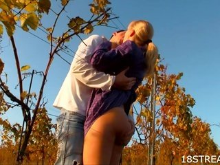 Outdoors legal age teen sex in doggy-glory pose