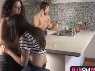 minor sapphic sweety threesome in the kitchen is hot