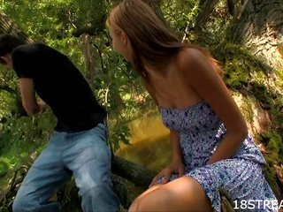 copulation with a legal age fresh mistress on the log