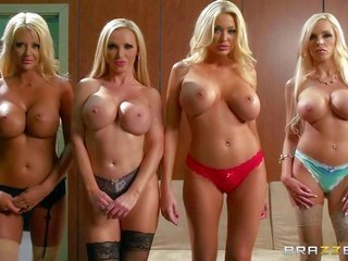 Blondes Courtney Taylor, Nikki Benz, Summer Brielle, in like manner Nina Elle are whole hot in like manner busty! They take off their bras in like man