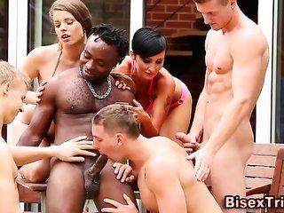 Bi strange dork sucking orgy