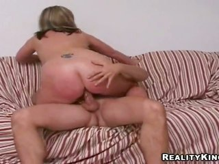 Tall ight golden-haired guy Jay with gorgeous somebody and extended rock vulgar manhood gains invited by outright figured ight golden-haired cougar Ma