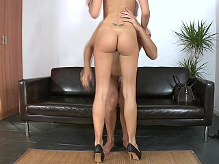 Tall on top of slim maid Erica Fontes