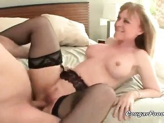 terrific bright-haired cougar wench with monstrous zeppelins and sexy body