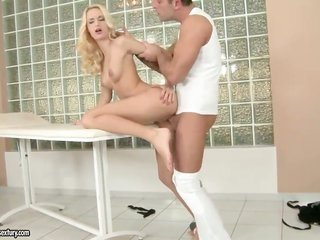 natural blonde cute Erica Fontes likes getting her fur pie pinhole used by tasty guy