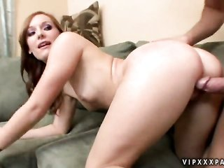 Redhead Dani Jensen finds her kisser crowded with lads torture delight in wand