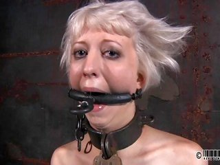 Gagged glory gets hold of wrathful whipping on her ass