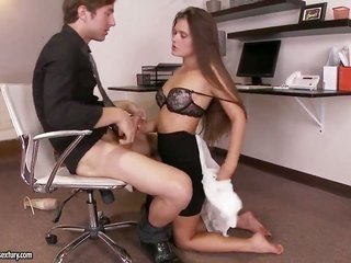 Take a glance at how Abby Cross is relaxing with her colleague in an office. hottie is devouring considerable firm prick in the past taking the cat&#0