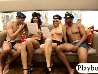 vast mounds golden-haired as well brunette babes foursome in reality show