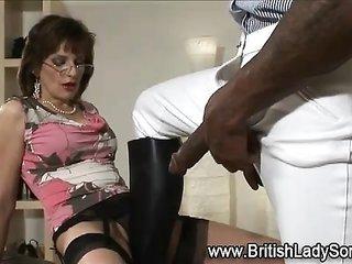 British hoe grinds weapon on top of sucks dork