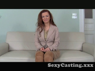 casting - Auburn moll gets coated with cum