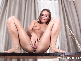 lewd girl Sabrina Moor masturbates