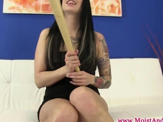 developed cherry call girl fools around baseball bat