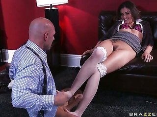 Johnny Sins explores the depth of lustful Allie Hazes wet vagina with his have a fun torpedo