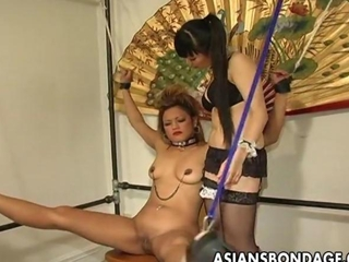 Restrained asian bird tormented by her blistering sweet mistress
