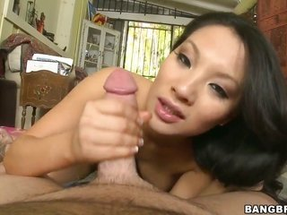 Asa Akira keeps her mouth wide discover for the time being getting cummed on