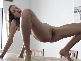 18 year old sweety Silvie Luca making bigger on a table