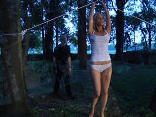 straight girly guy trembling slavegirl in chains constraint given away for a blowjob